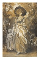 A Lady Walking in a Garden with a Child Fine Art Print