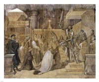 The Duke of Alba Receiving the Pope's Blessing in the Cathedral of St.Gudule Fine Art Print