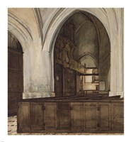 Interior of Abbey of Aramont at Verberie Fine Art Print