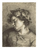 Head of a Sleeping Bacchante Fine Art Print