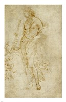 Female Figure with a Tibia, and Ornamental Studies Fine Art Print