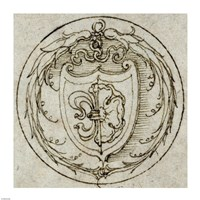 Design for an Ornament or Signet Ring with the Arms of Lazarus Spengler Fine Art Print