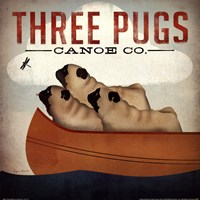 Three Pugs in a Canoe v Fine Art Print