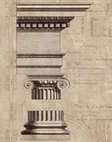 Architectural Rendering II Burlap Sepia Crop Fine Art Print