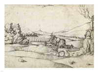 A Falconer in a Landscape - various sizes
