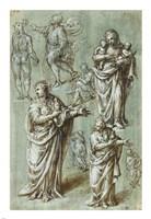 Sheet of Studies of Various Figures Fine Art Print