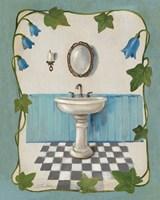 Bell Flower Bath II on Ivory Fine Art Print