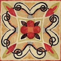 Bohemian Rooster Tile Square I Fine Art Print