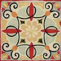 Bohemian Rooster Tile Square II Fine Art Print