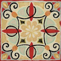 Bohemian Rooster Tile Square II by Daphne Brissonnet - various sizes