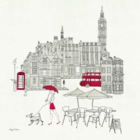 World Cafe I - London Red Fine Art Print