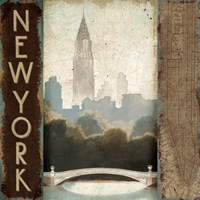 City Skyline New York Vintage Square Fine Art Print