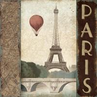 City Skyline Paris Vintage Square Fine Art Print
