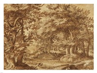 Forest Landscape with a Distant Castle Fine Art Print