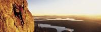 "USA, Wyoming, Grand Teton Park, climber by Panoramic Images - 27"" x 9"""