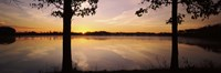 """Lake at sunrise, Stephen A. Forbes State Recreation Area, Marion County, Illinois, USA by Panoramic Images - 27"""" x 9"""""""