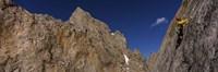 Man climbing up a mountain, Grand Teton, Grand Teton National Park, Wyoming, USA Fine Art Print
