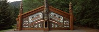 """Facade of a Clan House, Totem Bight State Historical Park, Ketchikan, Alaska, USA by Panoramic Images - 27"""" x 9"""""""