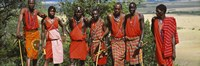 """Group of Maasai people standing side by side, Maasai Mara National Reserve, Kenya by Panoramic Images - 27"""" x 9"""""""