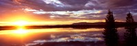 "Storm clouds over a lake at sunrise, Jenny Lake, Grand Teton National Park, Wyoming, USA by Panoramic Images - 27"" x 9"""