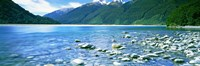 """Rocks in a lake, Mackenzie Country, South Island, New Zealand by Panoramic Images - 27"""" x 9"""", FulcrumGallery.com brand"""
