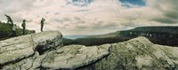 "Hikers on flat boulders at Gertrude's Nose hiking trail in Minnewaska State Park, Catskill Mountains, New York State, USA by Panoramic Images - 27"" x 10"""