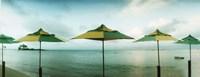 """Beach umbrellas, Morro De Sao Paulo, Tinhare, Cairu, Bahia, Brazil by Panoramic Images - 27"""" x 9"""", FulcrumGallery.com brand"""