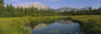 Reflection of a mountain in a lake, Grand Teton National Park, Wyoming, USA Fine Art Print