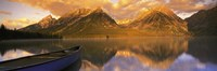 """Mountains Reflecting in Canoe Leigh Lake, Grand Teton National Park by Panoramic Images - 36"""" x 12"""""""