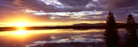 "Storm clouds over a lake at sunrise, Jenny Lake, Grand Teton National Park, Wyoming, USA by Panoramic Images - 36"" x 12"""