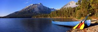 "Canoe at Leigh Lake, Grand Teton National Park, Wyoming by Panoramic Images - 36"" x 12"""