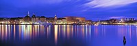 """Buildings at the waterfront lit up at dusk, Stockholm, Sweden by Panoramic Images - 36"""" x 12"""""""