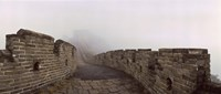 Fortified wall in fog, Great Wall of China, Mutianyu, Huairou County, China Fine Art Print