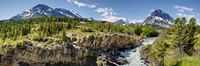 "Waterfalls at base of a lake, Swiftcurrent Lake, Glacier National Park, Montana, USA by Panoramic Images - 36"" x 12"""
