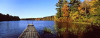 """Fall colors along a New England lake, Goshen, Hampshire County, Massachusetts, USA by Panoramic Images - 36"""" x 12"""""""