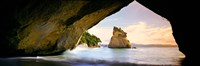 """Rock formations in the Pacific Ocean, Cathedral Cove, Coromandel, East Coast, North Island, New Zealand by Panoramic Images - 36"""" x 12"""" - $34.99"""