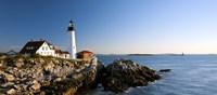 Lighthouse on the coast, Portland Head Lighthouse, Ram Island Ledge Light, Portland, Cumberland County, Maine, USA Framed Print