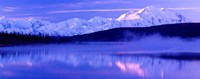 Reflection of snow covered mountains on water, Mt McKinley, Wonder Lake, Denali National Park, Alaska, USA Framed Print