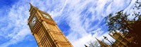 Low angle view of a clock tower, Big Ben, Houses of Parliament, City of Westminster, London, England Fine Art Print