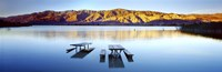 """Picnic tables in the lake, Diaz Recreation Area Lake, Lone Pine, California, USA by Panoramic Images - 36"""" x 12"""", FulcrumGallery.com brand"""