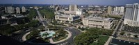 """Aerial view of buildings in a city, Logan Circle, Ben Franklin Parkway, Philadelphia, Pennsylvania, USA by Panoramic Images - 27"""" x 9"""""""