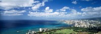 High angle view of skyscrapers at the waterfront, Honolulu, Oahu, Hawaii Islands, USA Fine Art Print