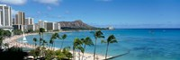 Buildings On The Beach, Waikiki Beach, Honolulu, Oahu, Hawaii, USA Fine Art Print
