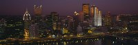 """High angle view of buildings lit up at night, Pittsburgh, Pennsylvania, USA by Panoramic Images - 27"""" x 9"""""""
