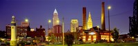 Buildings Lit Up At Night, Cleveland, Ohio Fine Art Print