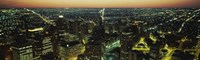 """High Angle View of Detroit at Night by Panoramic Images - 27"""" x 9"""""""