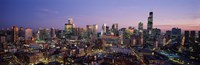 """Chicago with Purple Sky at Night by Panoramic Images - 27"""" x 9"""""""