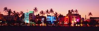 """Night, Ocean Drive, Miami Beach, Florida, USA by Panoramic Images - 27"""" x 9"""""""