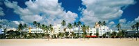 """Hotels on the beach, Art Deco Hotels, Ocean Drive, Miami Beach, Florida, USA by Panoramic Images - 27"""" x 9"""", FulcrumGallery.com brand"""