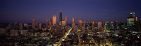 """Chicago Skyline at Night by Panoramic Images - 27"""" x 9"""""""